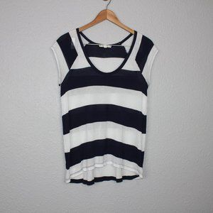 Soft Joie Blue & White Striped Scoop Neck Tee